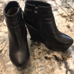 Shoes - Black leather ankle wedge boots